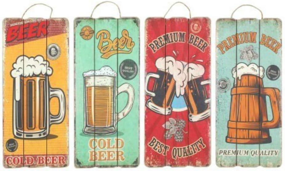 CAPRILO Set de 4 Adornos Pared Decorativos de Madera Cerveza. Cuadros y Apliques. Decoración Hogar. Regalos Originales. 34 x 15 x 1 cm.