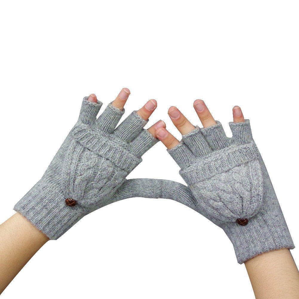TININNA mitones Guantes de invierno cálido llano sin dedos de punto Cap manopla para las mujeres señ...