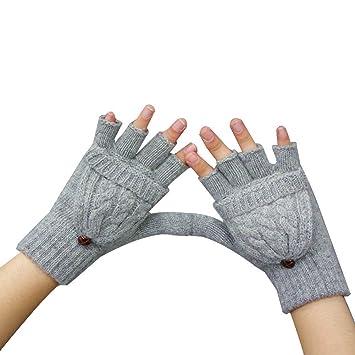 Hugestore Damen Winter Vintage Gestrickt Fingerlose Handschuhe