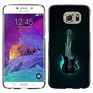 Be Good Phone Accessory // Dura Cáscara cubierta Protectora Caso Carcasa Funda de Protección para Samsung Galaxy S6 SM-G920 // Neon Blue Guitar Glow