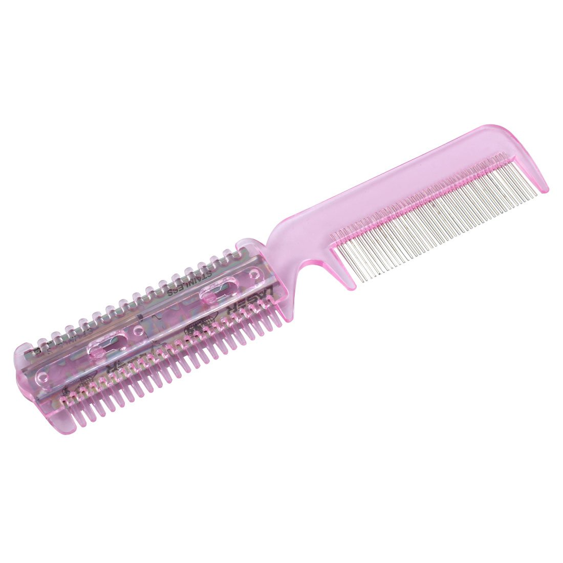 uxcell Pink Home Plastic Comb with Hair Cutting Trimmer Razor a09022500ux0116