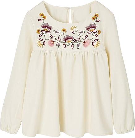 VERTBAUDET Blusa para niña con Bordado de Flores: Amazon.es: Ropa