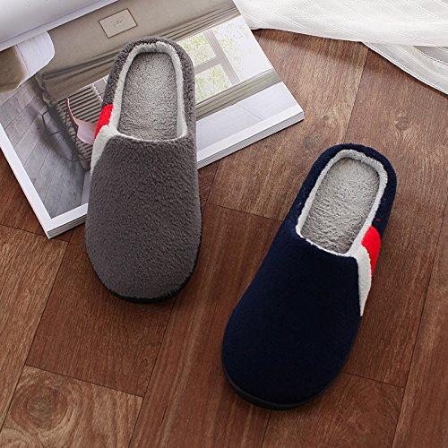 code chaussons coton 45 47 rester grande mètres femme L 42 d'hiver chaussons code Série pantoufles coton 43 46 bleu pour au chaud 48 taille Couple l'hiver Hommes PqT1I1