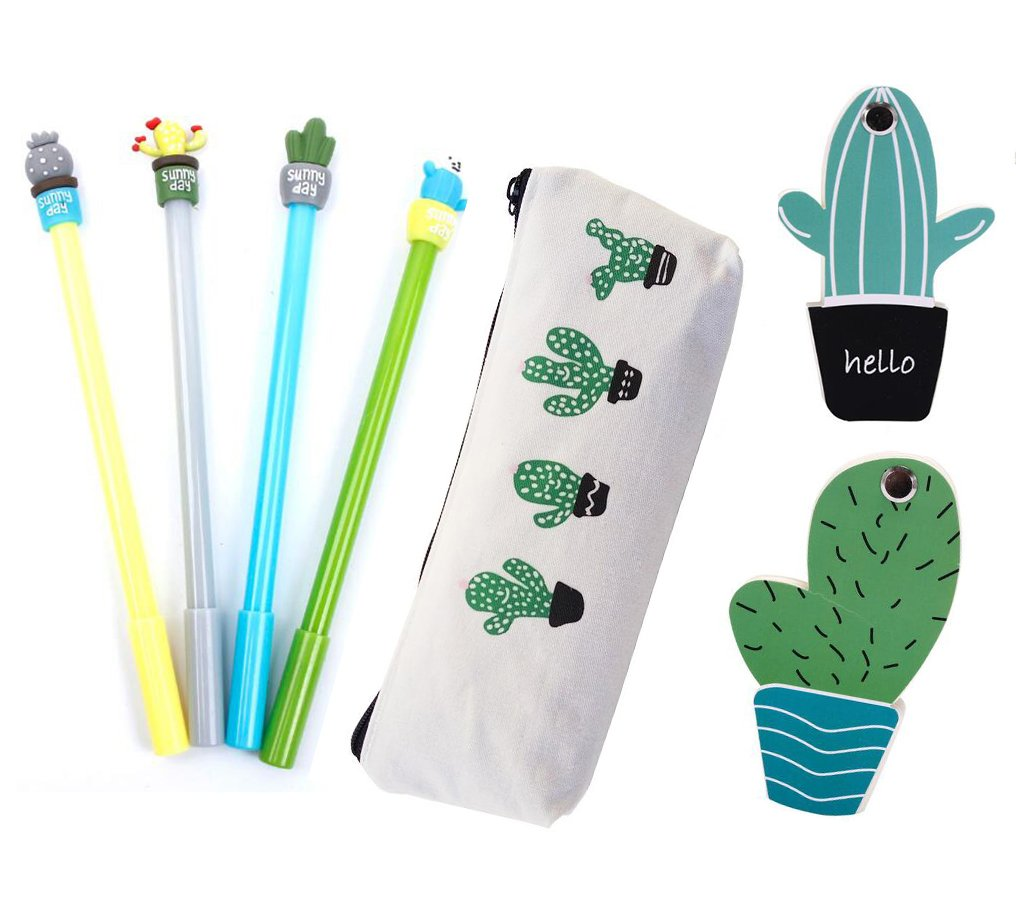 Cactus Office Supplies Includes 4 Cactus Gel Ink Black Pens 1 Cactus Pen Case 2 Cactus Sticky Notes for Adults & Students (Cactus set)