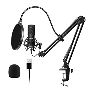 USB Streaming Podcast PC Microphone, SUDOTACK professional 192KHZ/24Bit  Studio Cardioid Condenser Mic Kit with sound card Boom Arm Shock Mount Pop