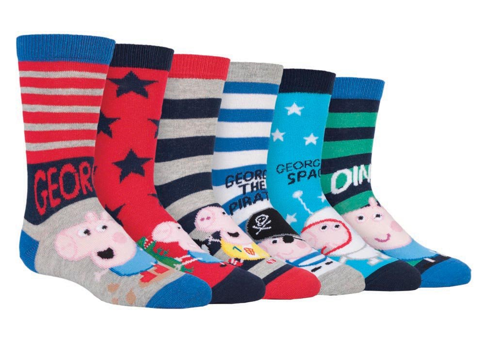 6 Pack Boys Girls Kids Colorful Funky Fun Cotton Peppa Pig / George Crew Socks PEPPIG