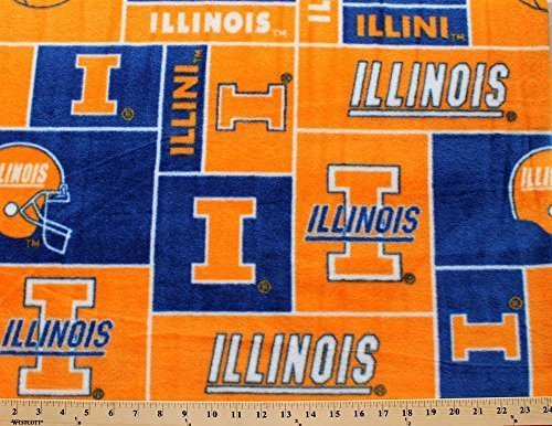Fabric Stores Illinois (College University of Illinois Fighting Illini Print Fleece Fabric By the Yard)