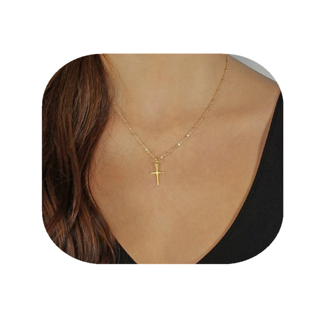 CHENCAN01 Gold Cross Necklace, Cross Jewelry, Micro Cross, Small Gold Cross, Elegant Minimalist, Christmas Gifts