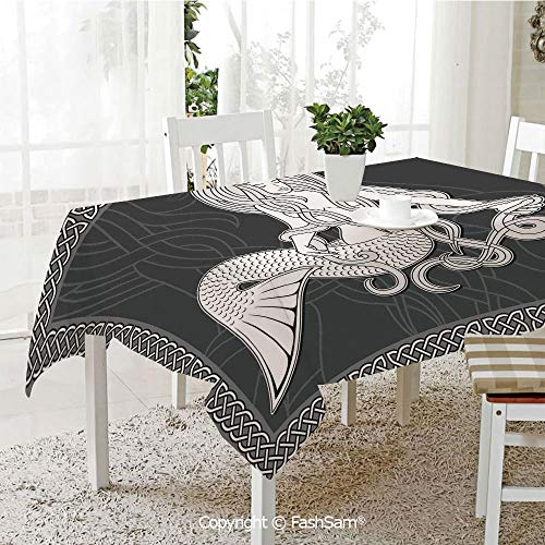 AmaUncle 3D Dinner Print Tablecloths Retro Style Art Mermaid Brushing Hair and Border with Celtic Patterns Print Table Protectors for Family Dinners (W55 xL72)]()