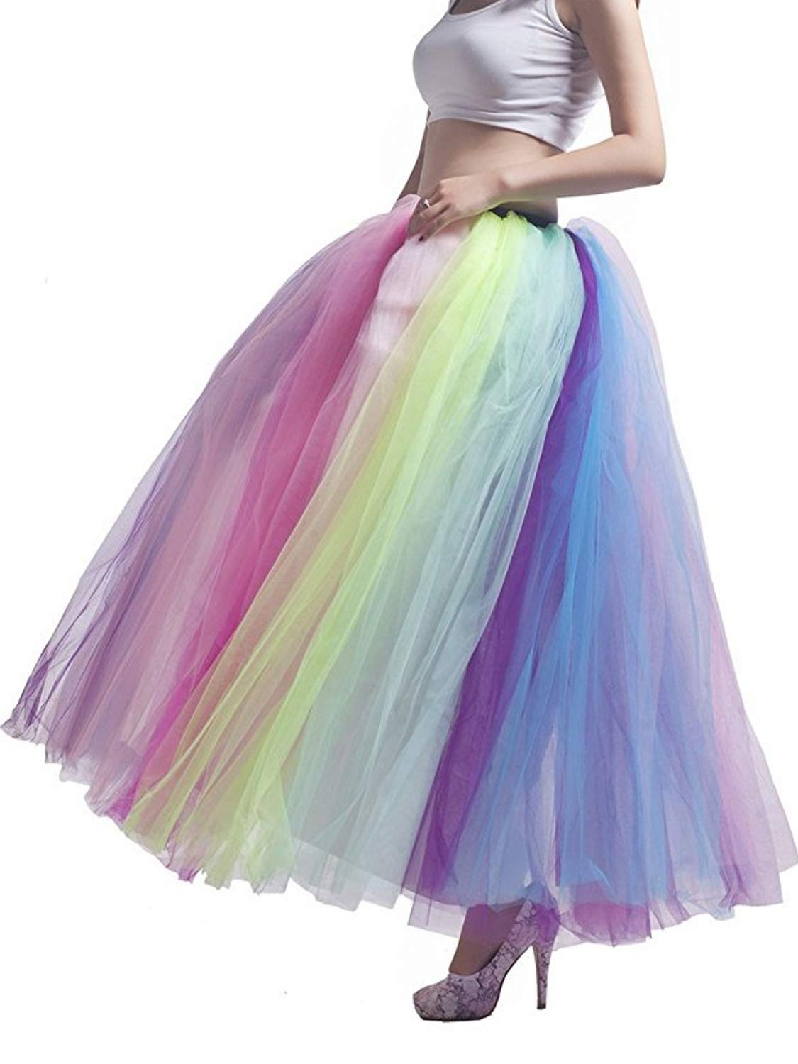 MisShow Women's Elastic Waist Ballet Layered Floor Length Tutu Tulle Prom Party Skirt