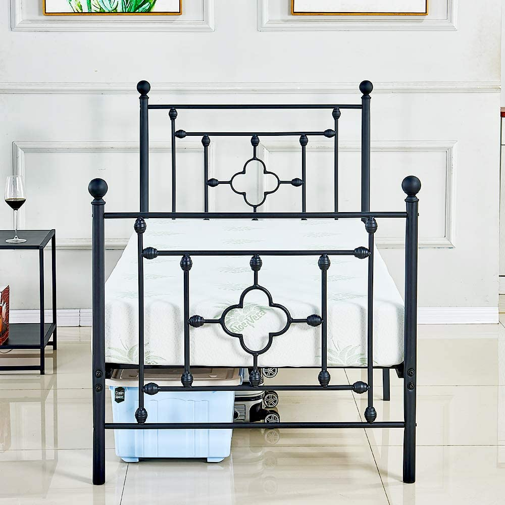 sleepanda Metal Bed Frame Twin Size Headboard and Footboard The Country Style Iron-Art Double Bed Antique Baking Paint.Sturdy Metal Frame Premium Steel Slat Suppot Warranty Five Year Twin