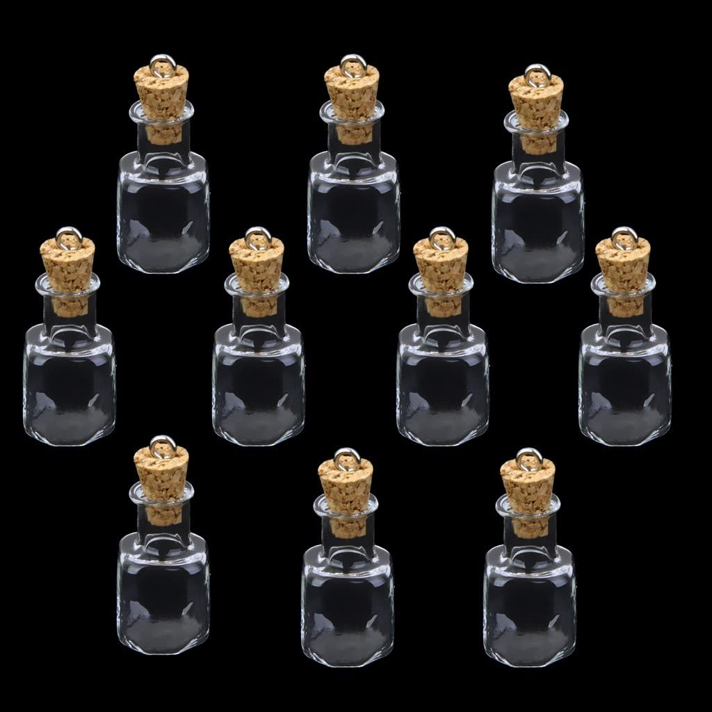 Lote de 8 mini botellas de vidrio vacíos vial encanto Colgante