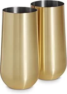 VonShef Gold Highball Cocktail Glasses Brushed Gold Stainless Steel Set of 2 Gold 16oz Tumblers with Gift Box