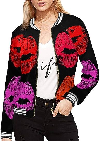 INTERESTPRINT Womens Leopard Pattern Animals Print Jacket Long Sleeve Zipper Classic Slim Fit Outwear M