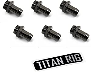"""XSPC G1/4"""" to 3/8"""" Barb Fitting for Soft Tubing, Black Chrome, 6-Pack"""