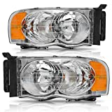 Headlight Assembly for 2002-2005 Dodge Ram Pickup Replacement Headlamp Driving Light Chromed Housing Amber Reflector Clear Lens,2 Year Warranty (Passenger and Driver side)