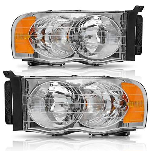 Headlight Assembly for 2002-2005 Dodge Ram Pickup Truck Headlamps Replacement Chrome Housing Amber Reflector Clear Lens, One Year Warranty (Passenger and Driver ()