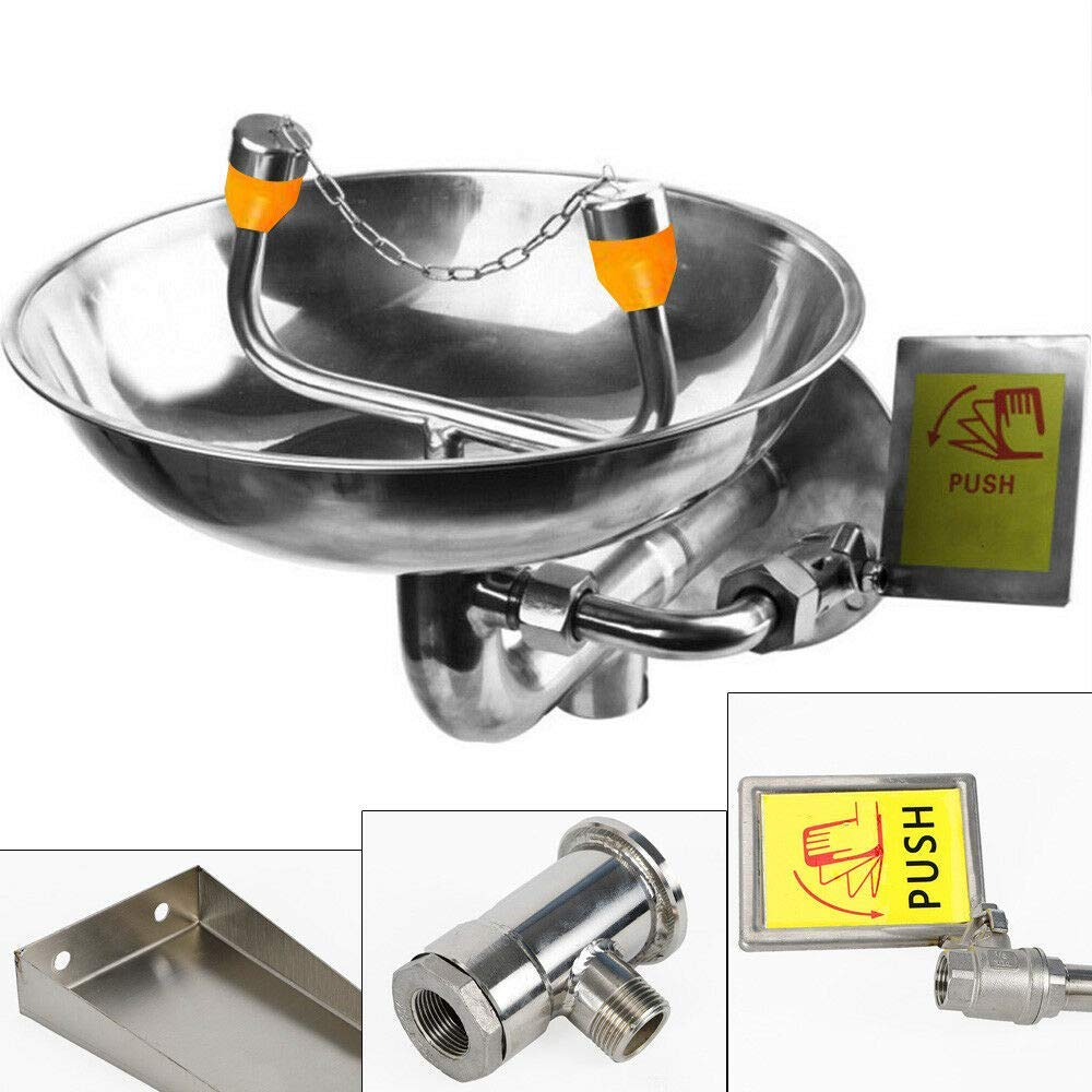Stainless Steel Emergency Eyewash Station Double Mouth Wall Mounted Eye Washer Bowl Washer (US Stock) by SHZICMY