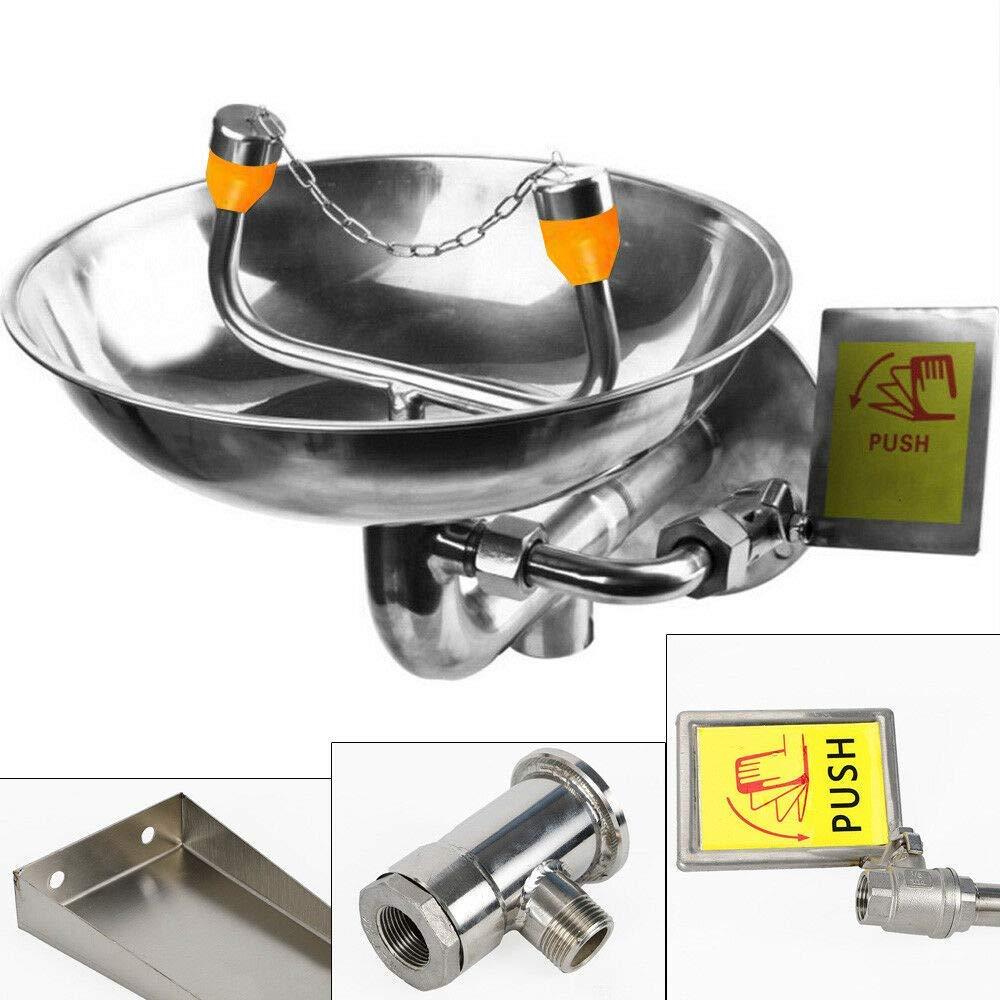 Stainless Steel Emergency Eyewash Station Double Mouth Wall Mounted Eye Washer Bowl Washer (US Stock)