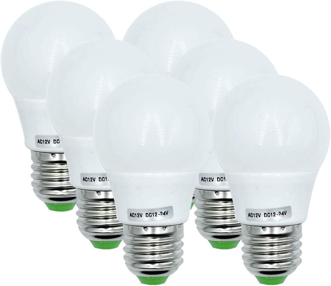 Bombillas LED Edison de 3W E27 base 12V luz de bajo voltaje para sistema de iluminación solar fuera de la rejilla,iluminación de barco,iluminación interior,luz blanca cálida,3000K,paquete de 6