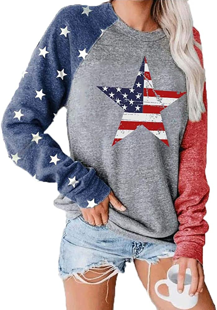 American Flag Star Print Colorblock Sweatshirt Women Pullvoer Long Sleeve Blouse