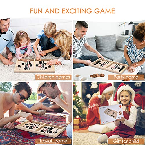 ELLASSAY Fast Sling Puck Game, Wooden Sling Hockey Board Game ,Fast Slingshot Desktop Battle Game, Winner Board Games for Family Game/Party/Kids Gift (Small:14.5in8.5in1in)