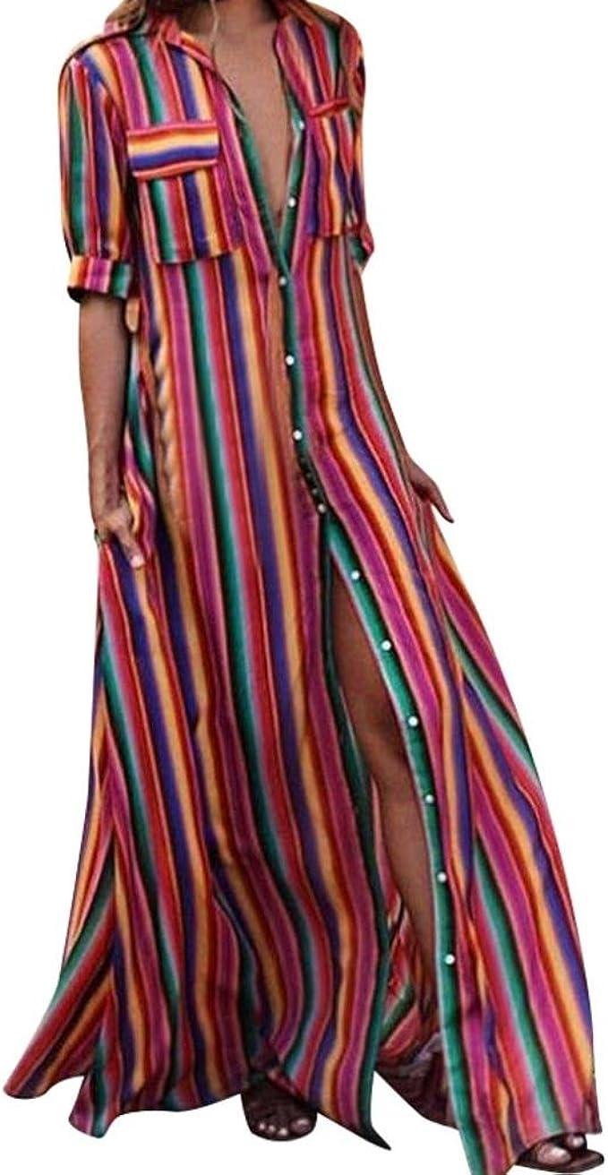 JYC Verano Falda Larga,Vestido De La Camiseta Encaje,Vestido Elegante Casual,Vestido Fiesta Mujer Largo Boda, Mitad Manga A Rayas Suelto Botón Bohe ...