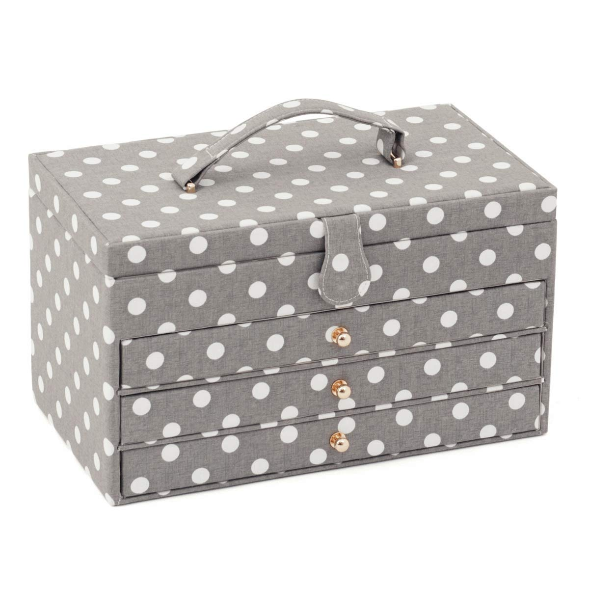 Hobby Gift Extra Large Sewing Box Grey Polka Dot Design - 3 Drawers Box Size: (D/W/H): 21 x 36 x 20cm by Hobby Gift