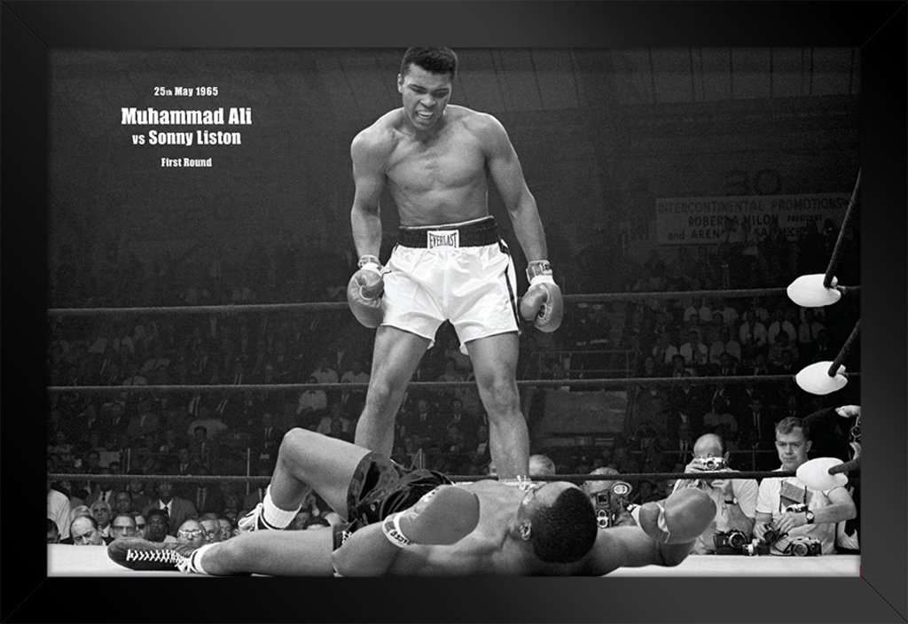 Pyramid America Muhammad Ali vs Liston First Minute Knockout Black Wood Framed Poster 20x14 - Superior quality 20x14 inch frame exterior dimensions with 18x12 46x31 cm artwork. All framed wall art includes thick UVblocking acrylic and a rigid backing to protect your art prints from sunny windows and add elegance. The 1.5 inch wide composite wood moulding ensures your home wall decor has never looked this good Framed posters are assembled by hand before carefully packing for shipping. Our curated Amazon Collection of both officially licensed and custom designed framed art prints are perfect to use as gifts for Christmas, weddings, birthdays or housewarming celebrations. If you know someone with a bedroom, kitchen, office, or even a hotel room, they could probably use a decorative painting or print framed posters can also easily be rotated seasonally With over 10,000 options, we make it easy to find the framed home decor thats exactly right for you or someone special. - wall-art, living-room-decor, living-room - 61Kh5pa08uL -