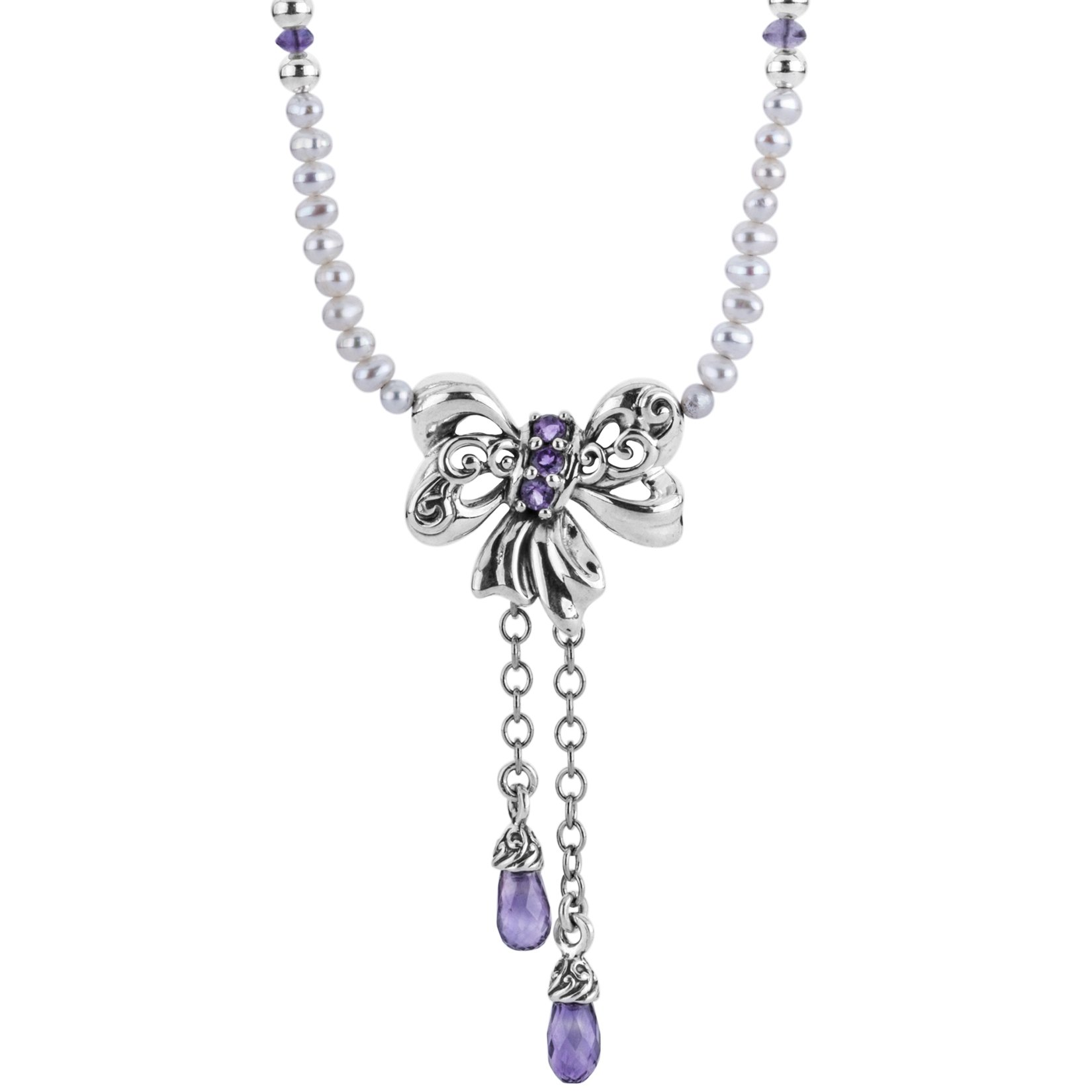 Carolyn Pollack Pearl & Amethyst Bow Necklace