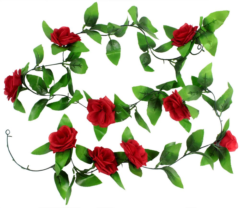 Amazon leegoal artificial rose silk flower green leaf vine amazon leegoal artificial rose silk flower green leaf vine garland home wall party decor wedding decal red home kitchen mightylinksfo
