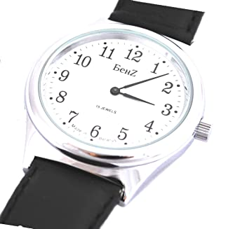 e1b4eeb9317 Image Unavailable. Image not available for. Color  Men s Wind up Watch 15  Jewel Easy to Read Silver Tone