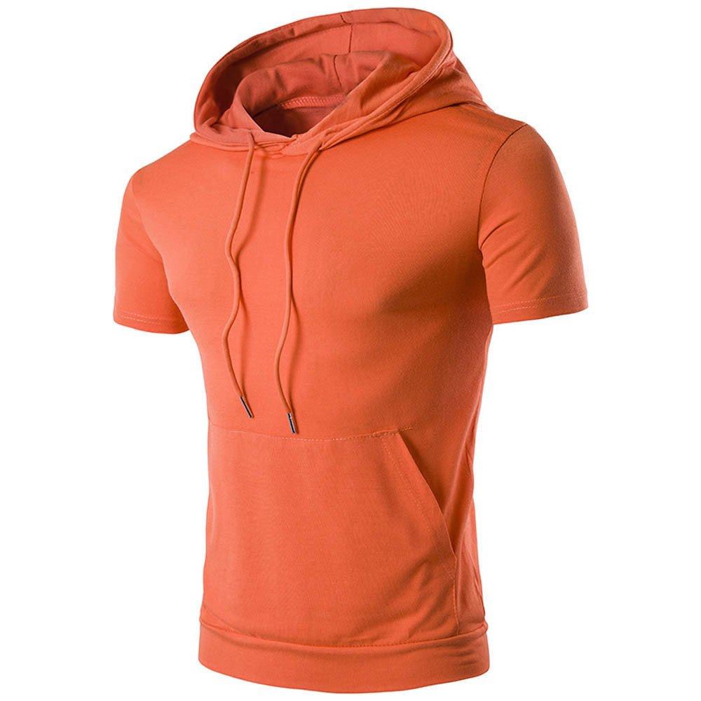 ¡Gran promoción!Hombre Sudaderas Rovinci Moda de Verano Sudadera con Capucha Bolsillo Deportes Correr Camisetas Manga Corta Tops Blusas