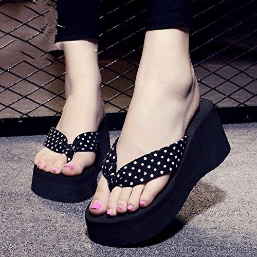 Mujeres Señoras Sandalias Talones altos Pista femenina del verano con los deslizadores inferiores gruesos Zapatos de la playa Zapatillas frescas de la manera un tamaño demasiado pequeño (los 3cm anter #2