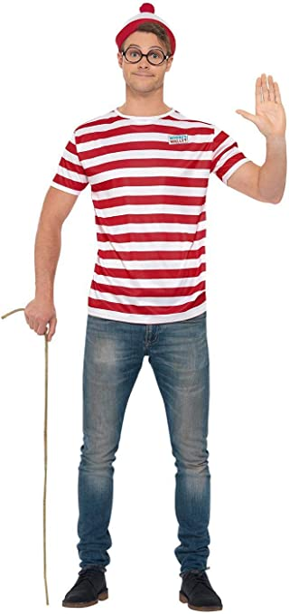 Smiffys Officially Licensed Wheres Wally Kit ¿Dónde, color rojo y ...