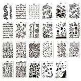 Ewparts 23 PCS PP Plastic Drawing Painting Stencils Scale Template sets, for Scrapbooking DIY Albums Accessories,Card and Craft Projects