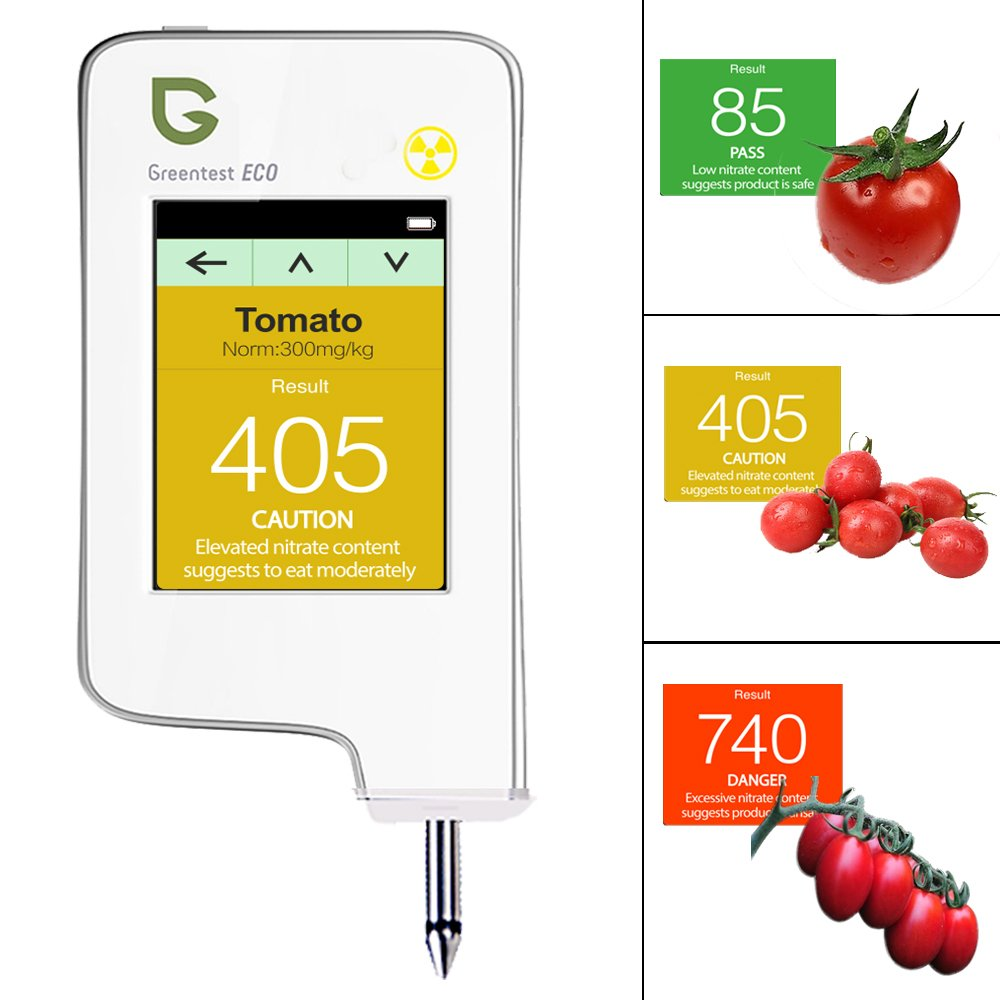 Greentest, High Accuracy Radiation Detector ,Personal Geiger Counter/ Nitrate Tester Combo for Fruit and Vegetable White