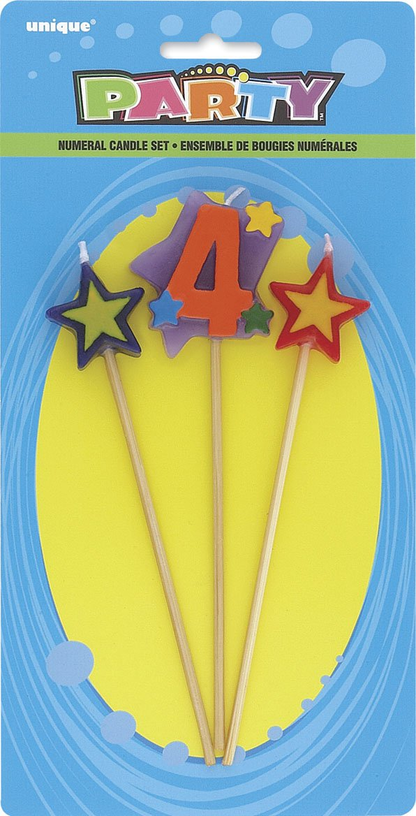 Stars Number 4 Birthday Candles Set 3pc Amazonca Toys Games