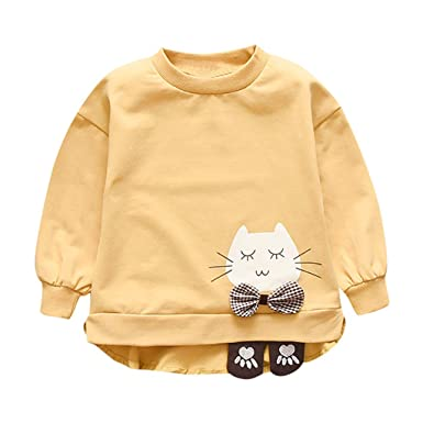 COOKDATE Niños Sudadera Lindo Caricatura Gato Suéter Niñas Otoño e ...