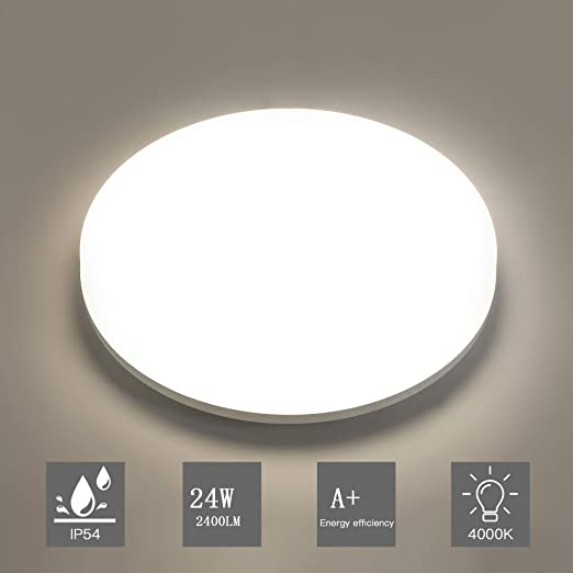 Oeegoo Deckenleuchte LED Deckenlampe 15W 1500Lm Flimmerfreie LED Badlampe 4000K IP44 Wasserdichte LED Deckenleuchte F/ür Bad Balkon Waschk/üche Keller K/üche Flur