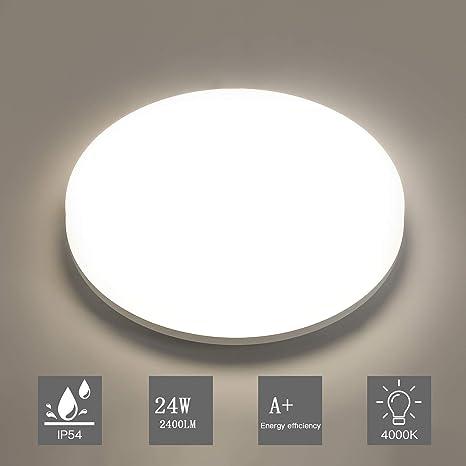 Aogled LED Lámpara de Techo 24W 2400LM 4000K Blanco Natural Plafón de Techo Redondo 28cm,No-Regulable Luz de Techo Permeable IP54,180 Ángulo LED ...
