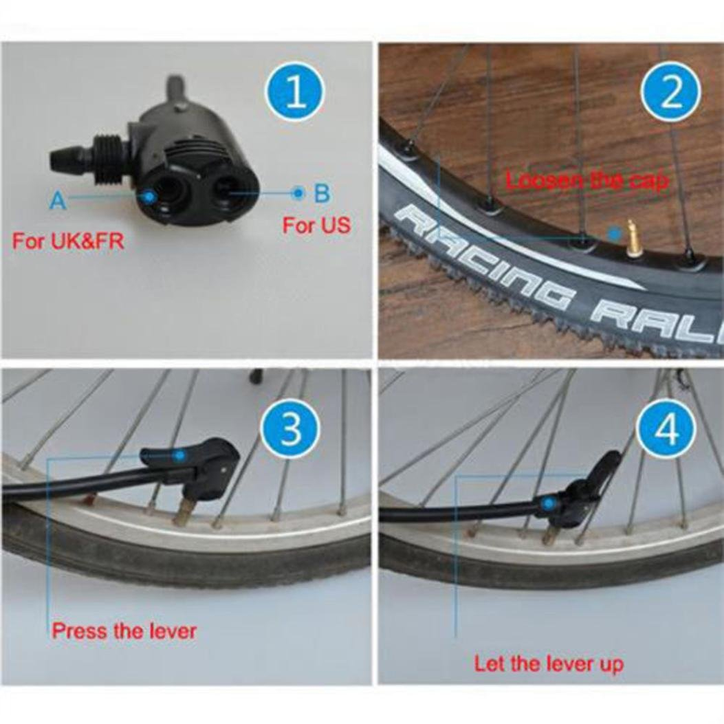 Bicicleta Doble Cabeza Bomba de Aire Adaptador V/álvula,Reemplazo del tubo del neum/ático del ciclo de la bici de la bicicleta V/álvula del adaptador de la bomba de aire principal del Presta Dual Negro Zarupeng