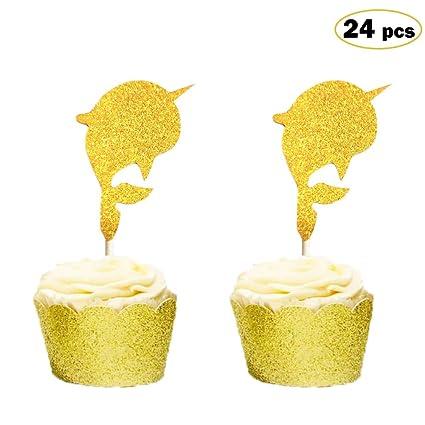 Amazon.com: Adornos para cupcakes Narwhal, decoración para ...