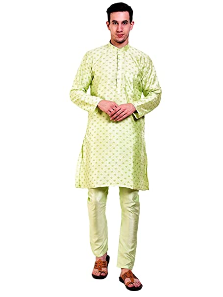 bef93eac5085 Amazon.com  Sorella z Mens Printed Green Designer Indian Kurta Pajama   Clothing