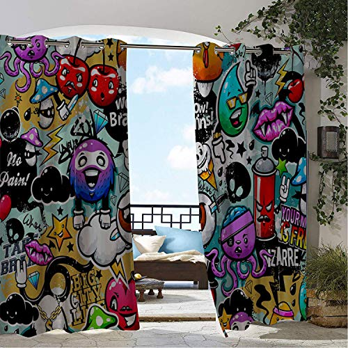 Linhomedecor Patio Waterproof Curtain Halloween Funny Cool Cartoon Pattern doorways Grommets Parties Curtains 84 by 84 inch -