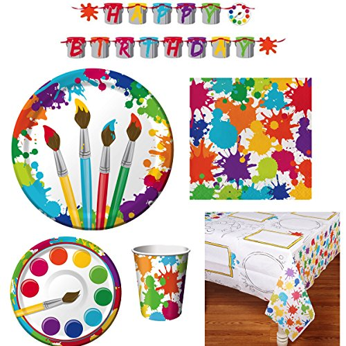 Art Party Supply Pack - includes Dinner and Dessert Plates, Cups, Napkins, Tablecover and Banner (16 Guests) (Artist Birthday Party Decorations)