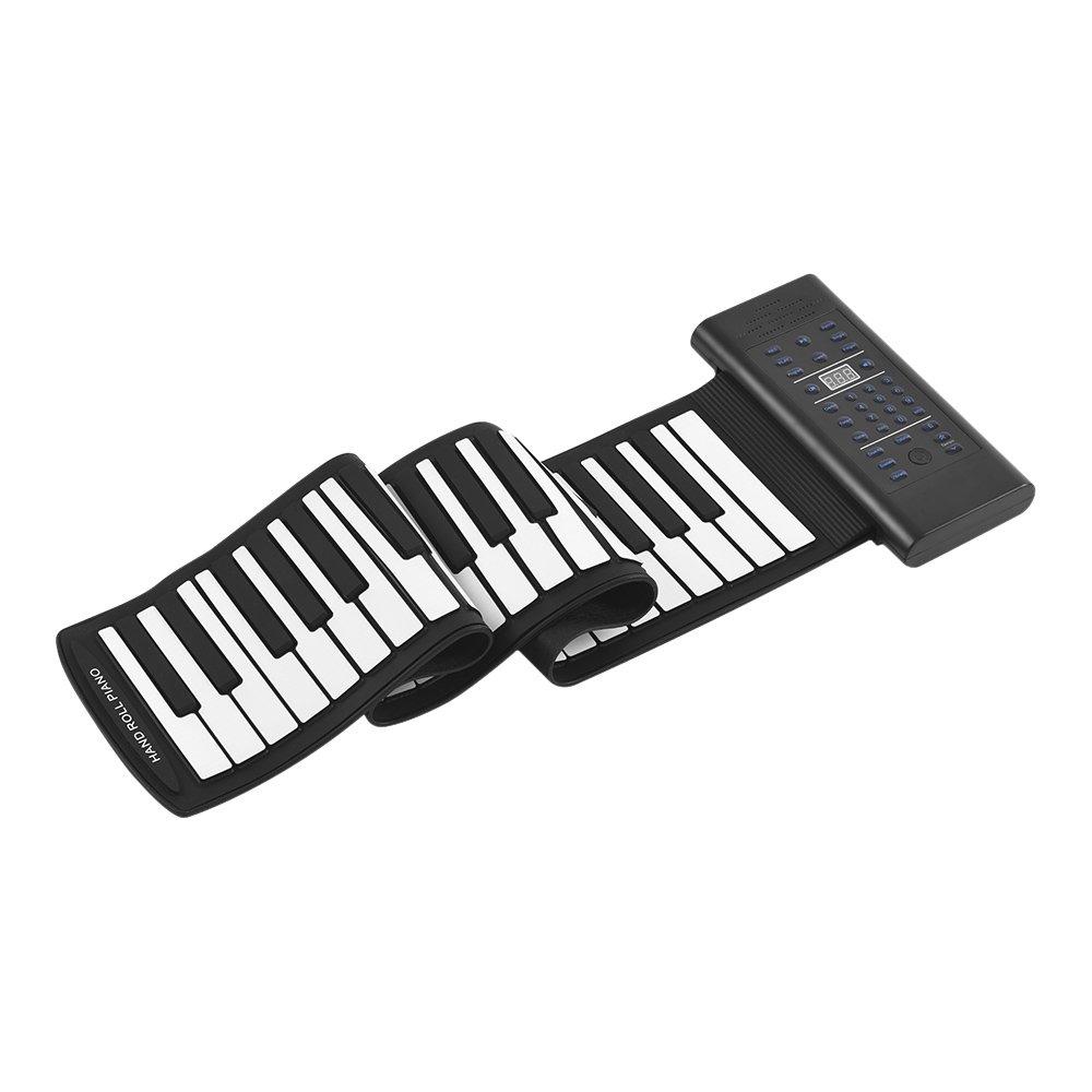ammoon 61 Teclas Roll Up Piano Teclado electrónico Silicio Altavoz estéreo incorporado Batería de iones de litio 1000mA Soporta funciones de entrada de audio de micrófono MIDI OUT