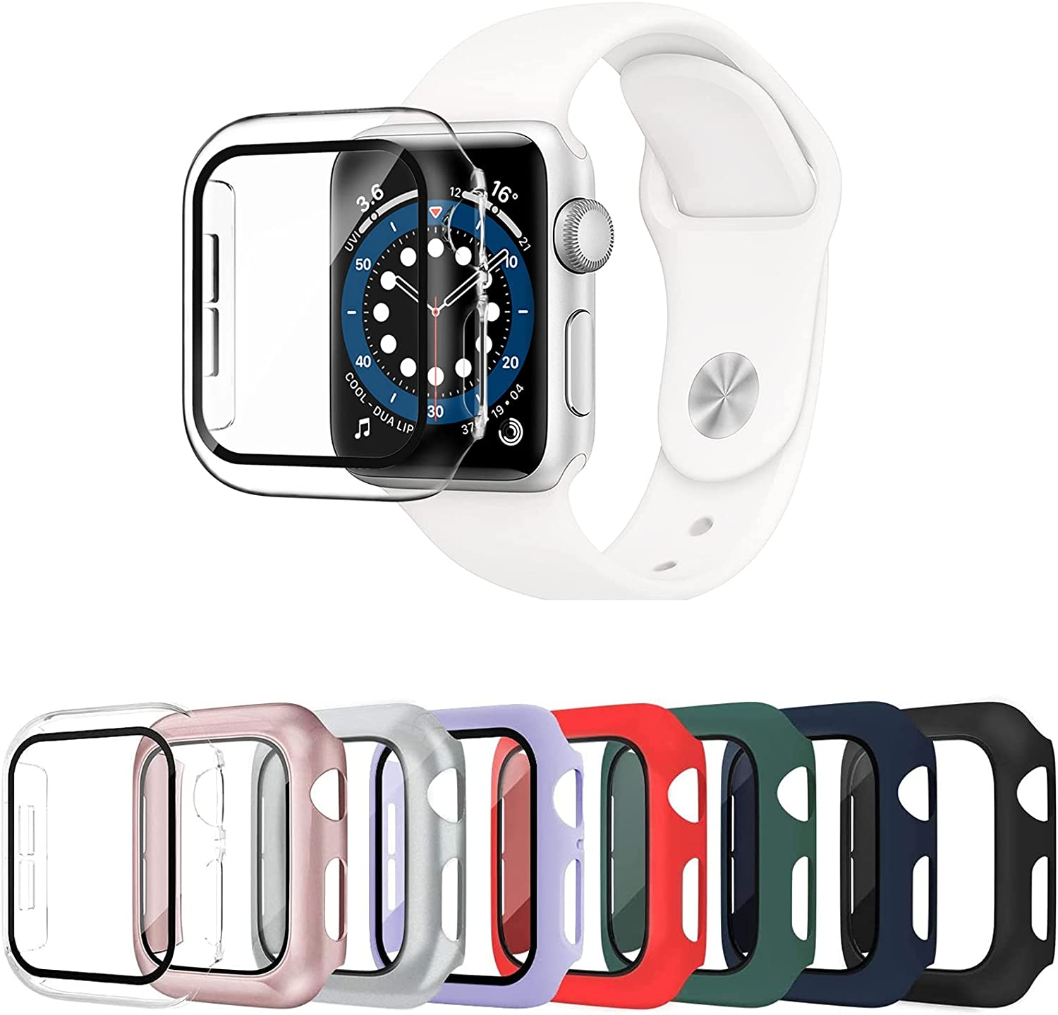 Surundo 8 Pack Apple Watch Case 38mm Compatible with iWatch Series 3/2/1, Built-in Tempered Glass Screen Protector Full Protective Cover Bumper for Apple Watch Accessories (only for 38mm)