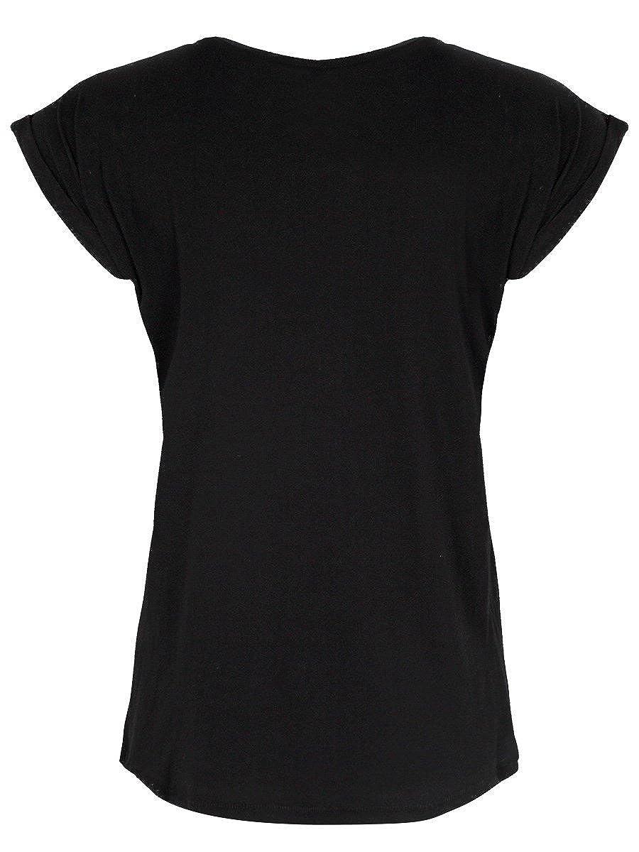 Grindstore Premio T-Shirt Aureate Pentagram da Donna in Nero