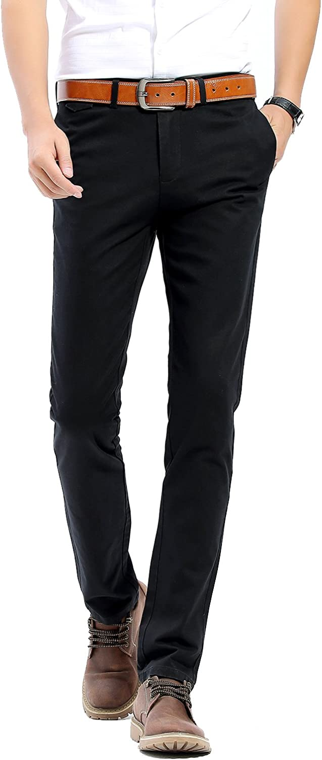 INFLATION Mens 100/% Cotton Slightly Stretchy Slim Fit Casual Pants Flat Front Trousers Dress Pants for Men